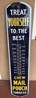 "Antique Vintage Chew Mail Pouch Tobacco Porcelain Thermometer Sign 39"" x 8.25"""
