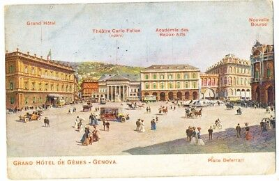 Antique 1913 postcard Grand Hotel de Genes - Genova, Italy