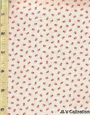 Small Red Fruit Roller Print C1860-1880 Cotton Yardage