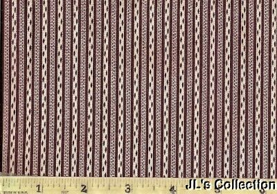 Burgundy Stripe Calico Cotton Yardage C1860-1880