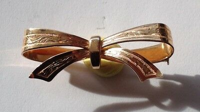 18K solid yellow gold bow ribbon brooch hanger fob watch, 6grs