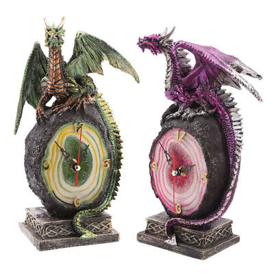 Crystal Geode Fantasy Dark Legends Dragon Clock Green Or Purple Christmas Gift