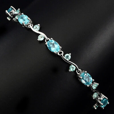 Gorgeous Natural Oval 7x5mm Top Neon Blue Apatite 925 Sterling Silver Bracelet