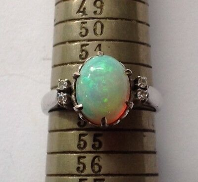 18K white gold diamonds and opal ring