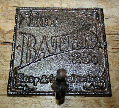 Cast Iron HOT BATHS 25 CENTS Towel Coat Hooks Hat Hook Key Rack Victorian Style