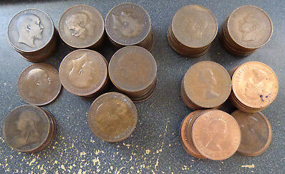 Great Britain, Lot of 119 Circulated Large Bronze Penny Coins, 5 Rulers