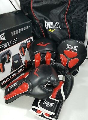 Everlast Prime Isoplate Boxing Set. Includes Gloves, Pads and Bag. Brand new.
