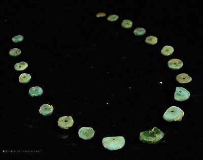 166) 20 Small Ancient Pre Columbian Moche or Chimu Mosaic Turquoise Discs Beads