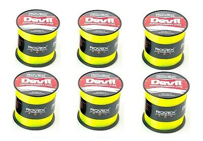 6 Bulk Spools of Rovex Devil Fishing Line - Neon Yellow Mono Fishing Line
