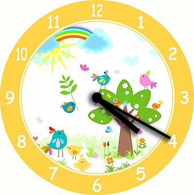 NOVELTY WALL CLOCK - Cute Rainbow Birds in a Tree Design - Childrens Wall Clock