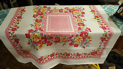 Vintage tablecloth/topper, heavy cotton, bright pink & red