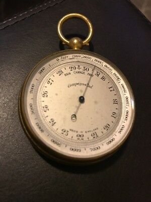 Antique Victorian Pocket Cased Compensated Barometer Working - Made in England