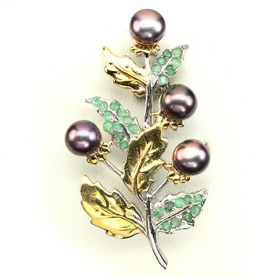 Exquisite Round 7mm Black Tahitan Color Pearl Emerald 925 Sterling Silver Brooch