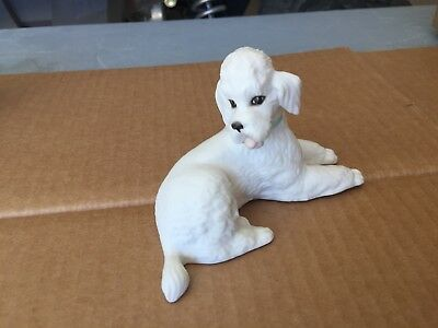 Boehm Porcelain Dog Reclining Poodle Bisque Decorated Made '59-'61