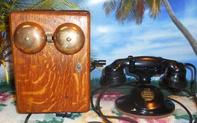 Vintage Western Electric 202 Telephone And Oak Ringer Box
