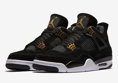 Nike Air Jordan 4 Retro Royalty IV Sz 4-12 Black Suede Metallic Gold 308497-032