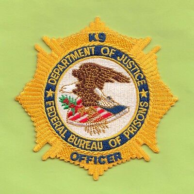 S23 * K9 Fbop Doj Fdc Gold Bureau Prisons Federal Agent Sort Police Patch Fbi