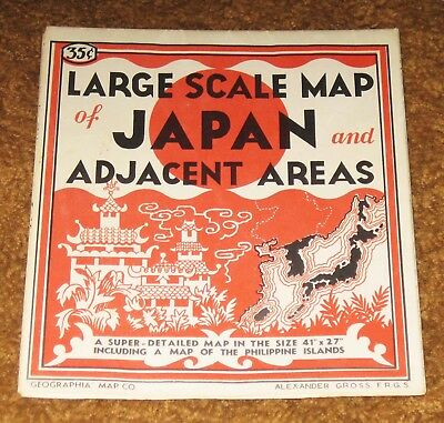 Map of Japan and Adjacent Areas,1944, Geographia Map Co., Size 41 x 27 Inches