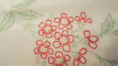 """Vintage pillowcase, standard size, single, hand embroidered geranium, """"HERS"""""""