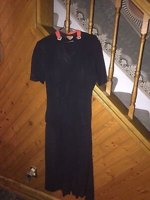 Vintage 1940's Mademoiselle Juliette  Black  Pin Up Party Dress Rhinestones