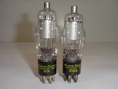 2 Vintage Western Electric 310A 310-A Small Punch Plate Amp Tube Matched Pair