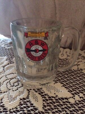 Vintage A & W Ice Cold Root Beer Arrow In Bullseye Logo Heavy Clear Glass Mug