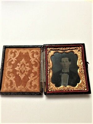 Antique 1800's Folding Leather and Wood Frame with Photo ~ Tin Type or Ambrotype