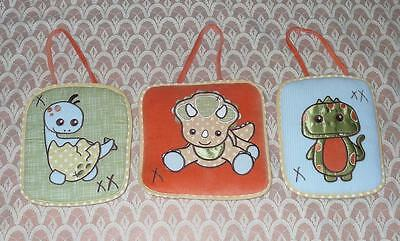 3 Baby Boy Soft Dinosaur/Dino Bedroom Wall Hanging Decor/Decoration Pictures