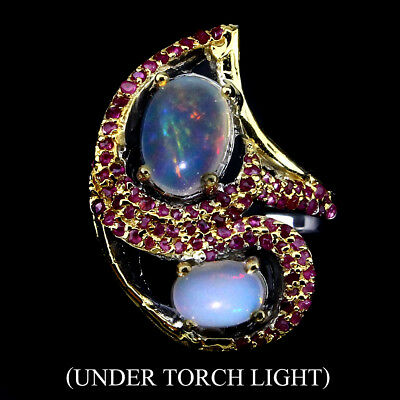 Exquisite Hot Rainbow Luster Fire Opal Ruby 925 Sterling Silver Ring Size 10