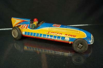 Vintage Japan Ya #61 Speed King Tin Litho Friction Race Car Toy For Parts As Is