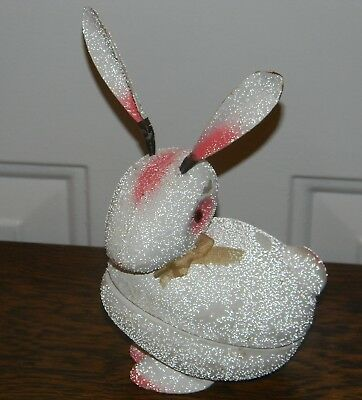 Vtg Antique Made In Germany Egg Carton Paper Mache Easter Rabbit Candy Container
