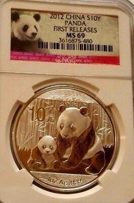 CHINA 2012 PANDA COIN S10Y *FIRST RELEASES* NGC MS 69* 1oz SILVER