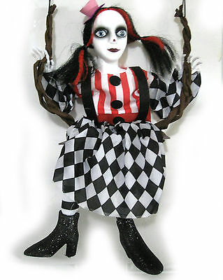 """Goth Girl Doll on Swing Red Costume Hanging Halloween Decoration Prop 24"""""""
