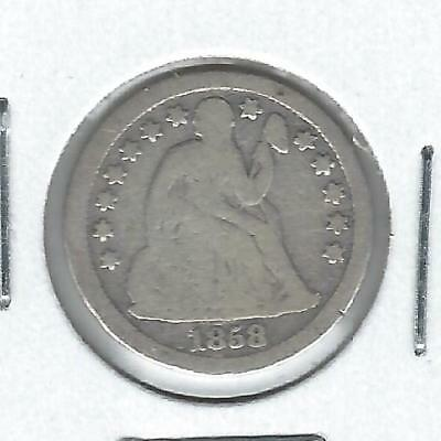 1858-S Seated Liberty Dime Good - Scarce Date!