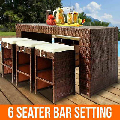 7pc Wicker Outdoor Bar Setting Rattan Patio Furniture Garden Table Chairs Stools