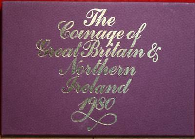 Uncirculated 1980 Coinage Of Great Britain & Northern Ireland Proof Set Free S/H