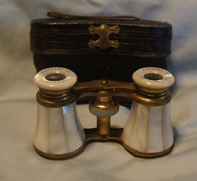 1904 Leclerc Ft  Paris France Mother of Pearl Opera Glasses & Case