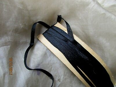Antique Victorian 1900 Ink Black Tiny Flat Thin Silken Lingerie Trim Ribbon 1/8""