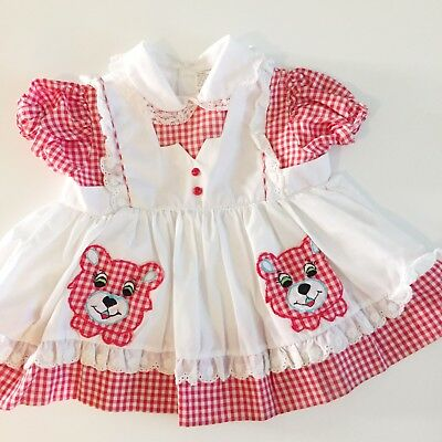 Vtg Checkered Picnic Bear Pinafore Dress 6 12 18 Red White Top Lace Apron Ruffle