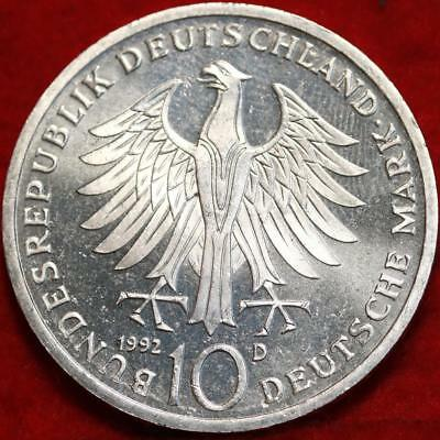 Uncirculated 1992-D Germany 10 Mark Foreign Silver Coin Free S/H