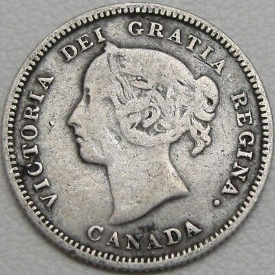 1886 5C Canada 5 Cents, Fish Scale, Canadian 5 Cent, Sterling Silver, #11156