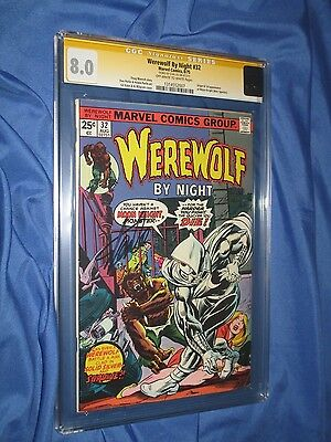 WEREWOLF BY NIGHT #32 CGC 8.0 SS Signed by Stan Lee  ~1st Moon Knight App.