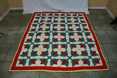 Antique Cross And Crown Red Green White Yellow Hand Stitched Quilt
