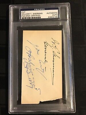Civil War GENERAL William T. SHERMAN & Phil SHERIDAN CUT SIGNATURE PSA/DNA 1889