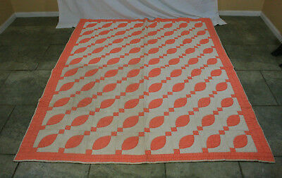 Antique Jacob's Ladder Pattern Orange And White Hand Stitched Quilt