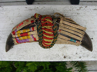 Antique 1860's LAKOTA Sioux Beaded Quilled Buffalo Horn Dance Stick Head -Bonker