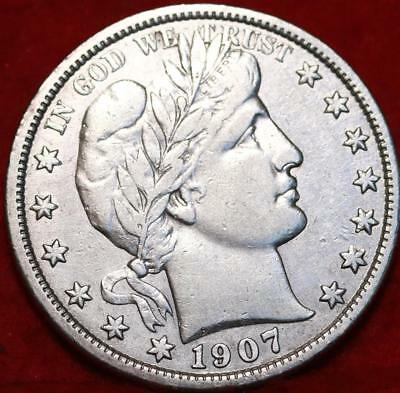 1907-S San Francisco Mint Silver Barber Half Dollar Free Shipping!