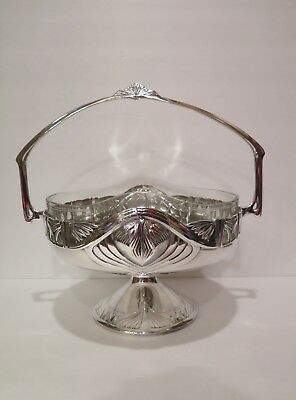 WMF Art Nouveau Silverplate Basket w Glass Insert