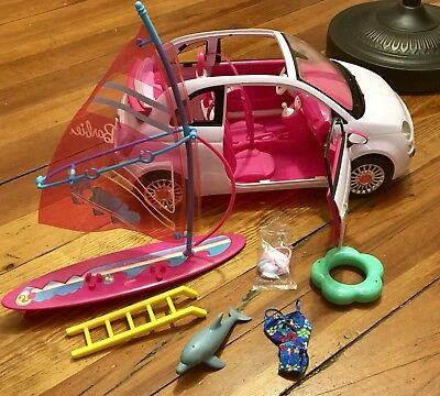 Barbie Doll Lot, White Car And Beach Accessories