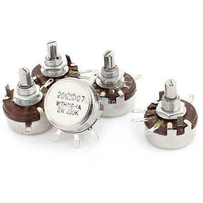 5 Pcs WTH118-1A 2W 330K Ohm Rotary Taper Carbon Potentiometer Silver Tone 5x 8mm